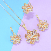 GODKI Luxury Flower Lariat Necklace Earring Sets Cubic Zircon Crystal CZ jewelry Sets for women Wedding India Bridal Jewelry Set