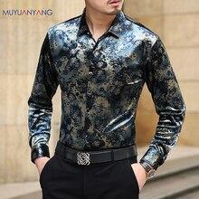 Mu Yuan Yang chemise de styliste pour hommes, tenue cintrée, décontracté, à la mode, à manches longues, de haute qualité, grande taille 3XL 50%