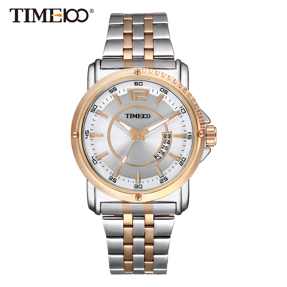 Time100 Men Watches stainless steel strap quartz men wristwatch business casual style analog display date gold color