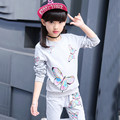New 2017 Fashion Girls Spring Sets Children Long Sleeves Shirts+Pants 2Pcs Butterfly Pullover Active Clothing Kids High Quality
