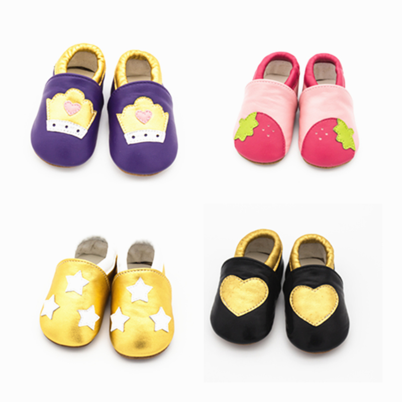 Genuine Leather Cartoon Sew Crown Strawberry Star Baby Shoes Soft Bottom Lovely First Walkers Baby Moccasins Indoor Shoes