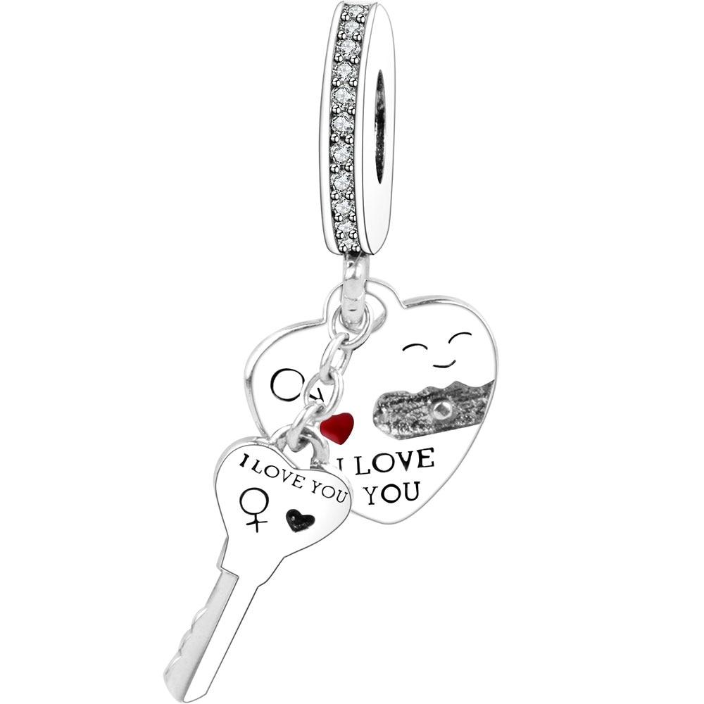 I Love You Heart Dangle Charm Fit Original Pandora Charm Bracelet 925 Sterling Silver Pendant Bead 2018 Valentines Day DIY Gift