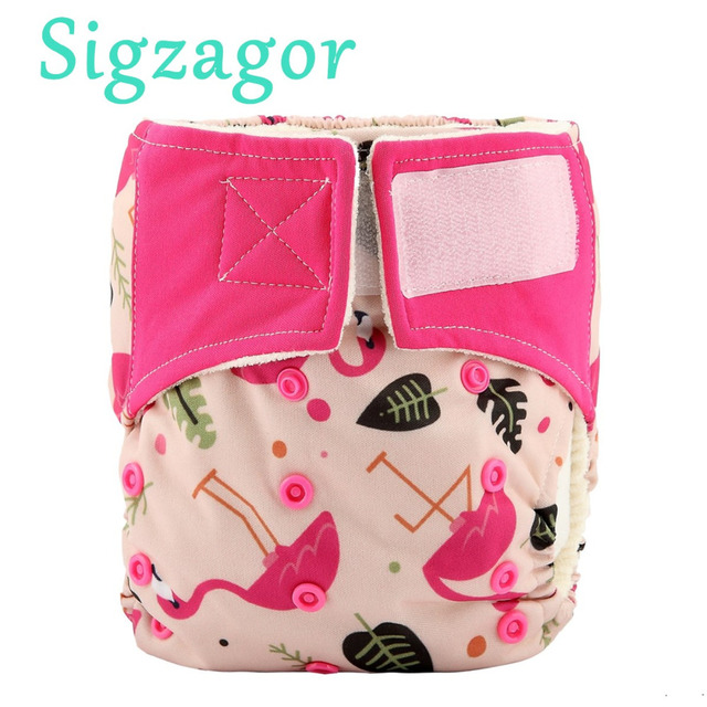 Sigzagor All In One Bamboo Baby Cloth Diaper Nappy Hook And Loop