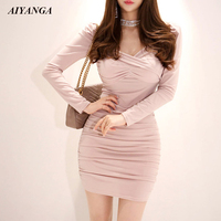 New Sexy Min Dress For Women Autumn Dress Female 2018 OL Elegant Long Sleeve Slim package Hip Dresses Ladies Solid Pink