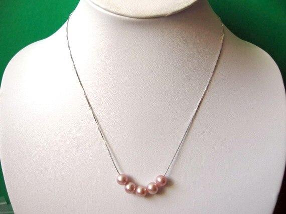 Nouveau Arriver bijoux en perles, belles perles d'eau douce rondes Mauve rose sur 925 collier en argent Sterling serpent chaîne