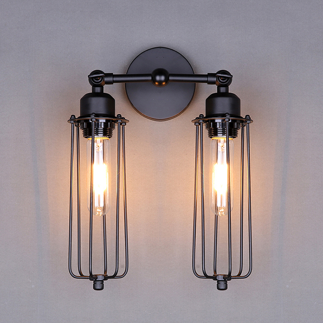 RH Loft Vintage Industria Lustre Double Head Wall Sconce Lamp Hotel  Bathroom Beside Bedroom Mirror Home