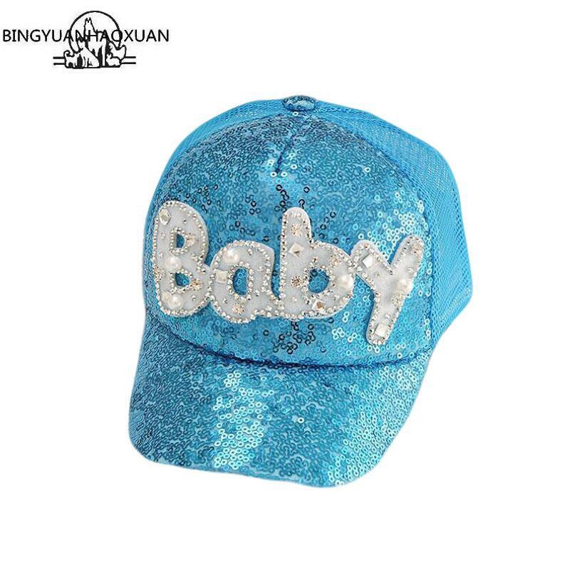 BINGYUANHAOXUAN Brand New Summer Children Kid Pearl Flower Cap Baseball Cap Hat For Girls Children Adjustable Snapback Casquette