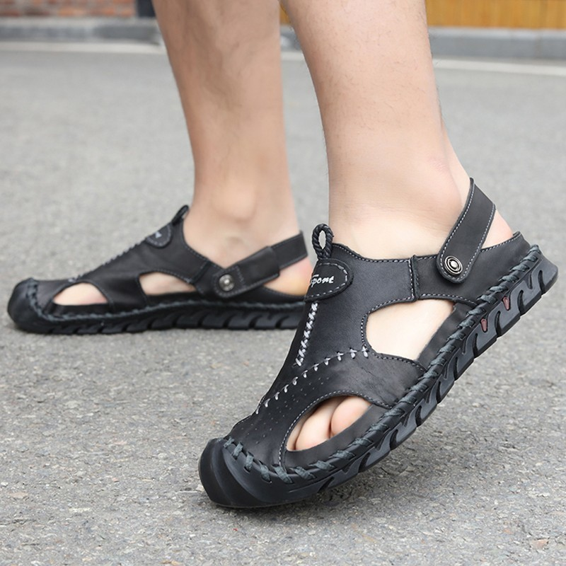 Summer Sandals Flat-Shoes Men Slippers Comfortable Soft Big-Size Genuine-Leather Fashion