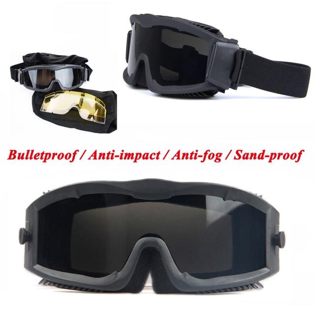 26a76c71d6 UV400 Outdoor CS Airsoft Goggles Ballistic Glasses Anti Fog Tactical  Goggles Shooting Hunting Eyewear 3 Lens