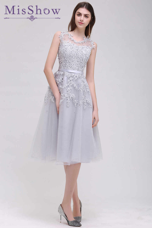 c5d7db5256d Новый Серый Короткие платья подружек невесты 2019 Небесно голубой  аппликация бусины Sheer назад Вечерние вечернее платье