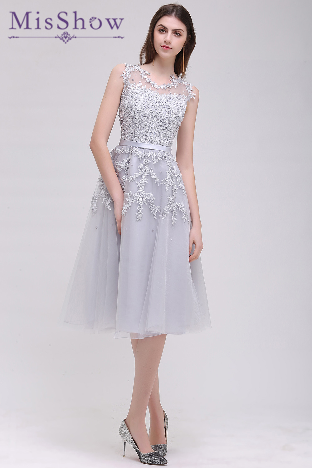 New Gray Short   Bridesmaids     Dresses   2019 Sky Blue Applique Beads Sheer Back Party Gown   Dress   For Wedding Guests