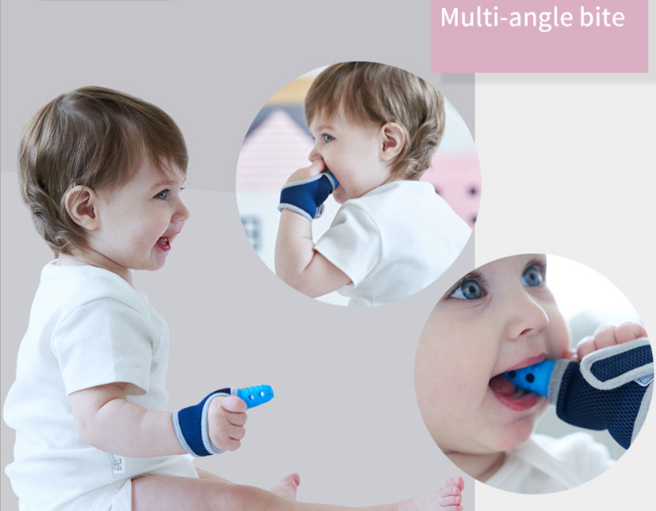 Nontoxic Silicone Baby Kids Child Finger Guard Stop Thumb Sucking Wrist Band Baby Pacifier Mitt Teething Mitten Teether Glove