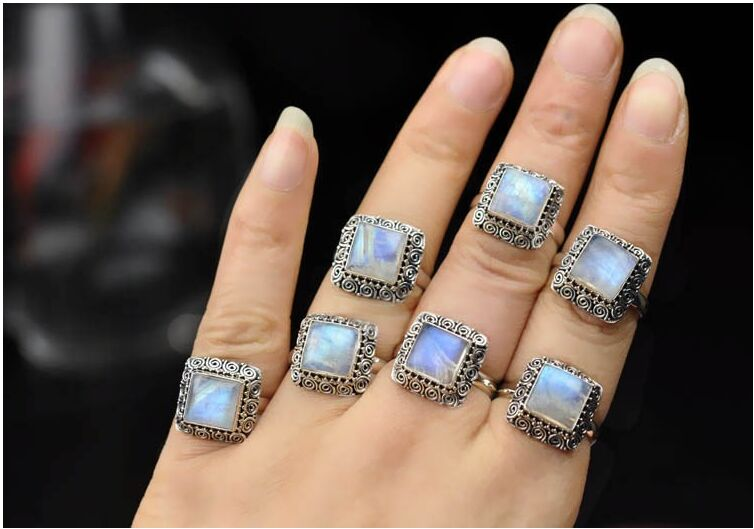 BOCAI Silver Makeup India Nepal Bali Silver ACTS The Role Of By Hand Rainbow Blue Moon Stone Ring bocai silver makeup india nepal bali silver acts the role of by hand rainbow blue moon stone ring