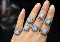 BOCAI Silver Makeup India Nepal Bali Silver ACTS The Role Of By Hand Rainbow Blue Moon Stone Ring
