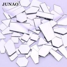 JUNAO, 20 шт., разные размеры, прозрачное зеркало стразы, серебряная аппликация с кристаллами, плоская задняя сторона, акриловые стразы, не швейные камни для украшения