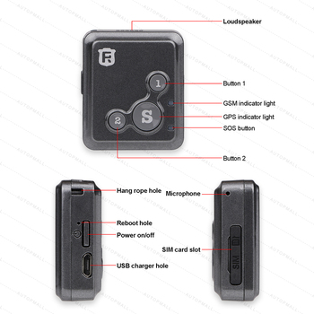 Mini GPS Tracker Children Kids RF-V16 Hand-free Talk 2G GSM GPS Locator 12 days Standby SOS Call Voice Monitor Free APP Tracker 3