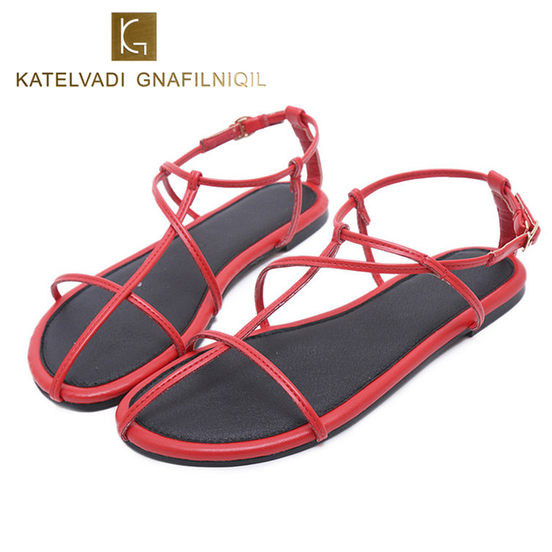 Flat Summer Shoes Woman Gladiator Sandals Casual Shoes Sandals Women Red PU Leather Ladies Beach Shoes Women Flats Sandals K-147 stainlizard 2017 boho women flats sandals fashion casual beach sandals bohemian flat shoes wild women summer shoes bt586