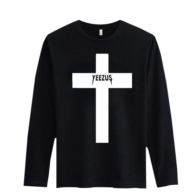 Alta Calidad YEEZUS camiseta de Manga Larga Hombres 2016 con XXS T Hombres de la camisa de Marca Famosa en Negro Para Hombre Hiphop Camisetas de Algodón 3XL
