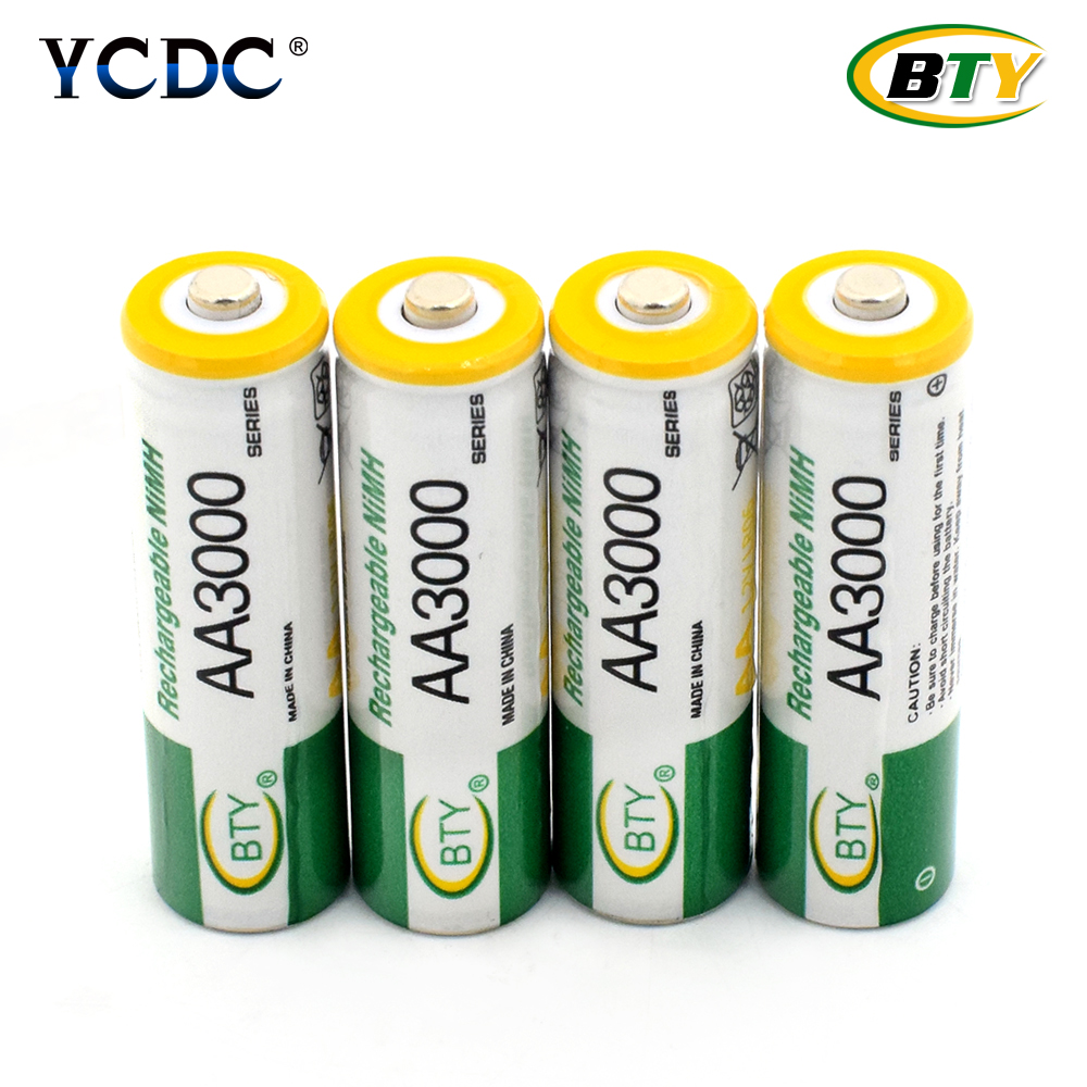 BTY New 8pcs BTY Ni-MH 1.2V AA Rechargeable Battery 3000mAh 2A Baterias Bateria for Camera