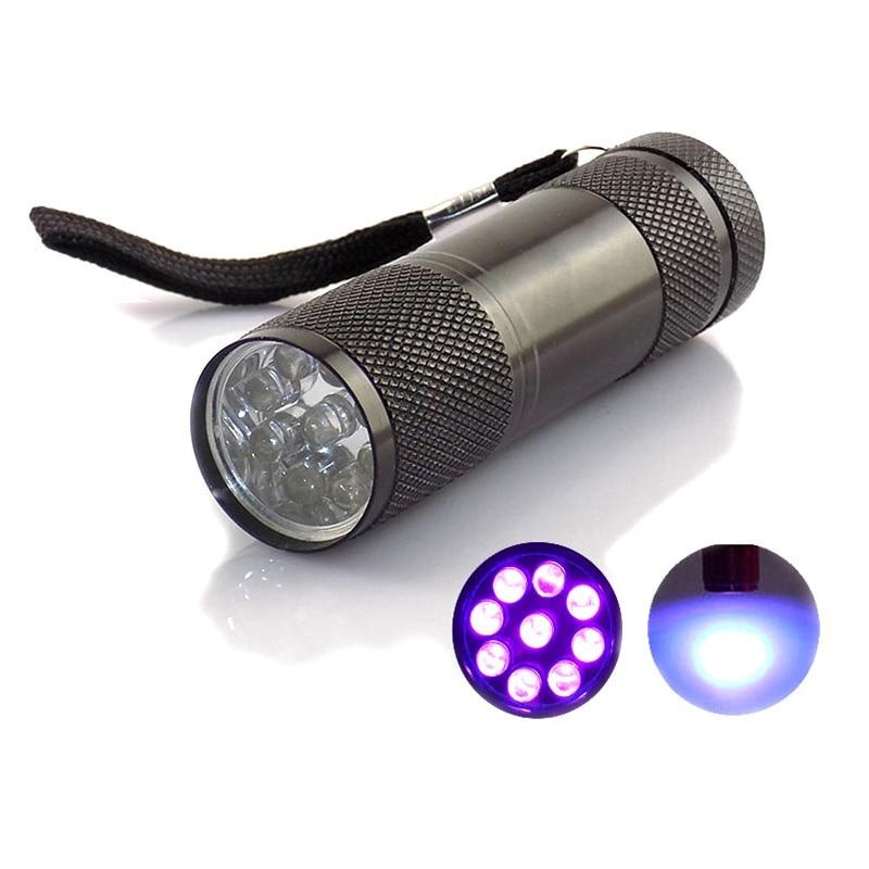 Mini Ultra Violet Ultraviolet UV Flashlight 9 LED Bulbs Protable UV Purple Linternas Flash For Money detection Torch Light