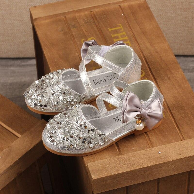 H2231 automne nouveaux enfants en cuir chaussures décontracté filles princesse talon plat chaussures de fête de mode paillettes arc perle enfants chaussures