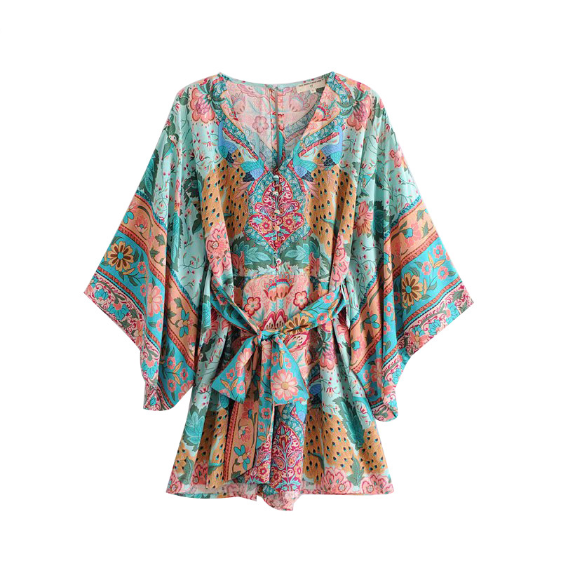 8077a722222e Boho Chic Summer Beach Vintage Floral Print Kimono Playsuits Women 2019  Fashion Bandage V Neck Buttons