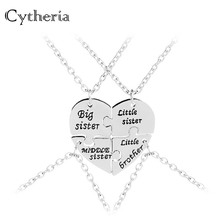 Big Middle Little Sister Necklaces Pendants For 4 Brother Necklace Family Baby Birthday Gift