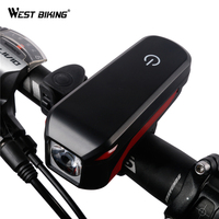 WEST BIKING Bicycle Light With Horn Bright USB Rechargeable LED Cycling Headlight Waterproof Touch Mode Front