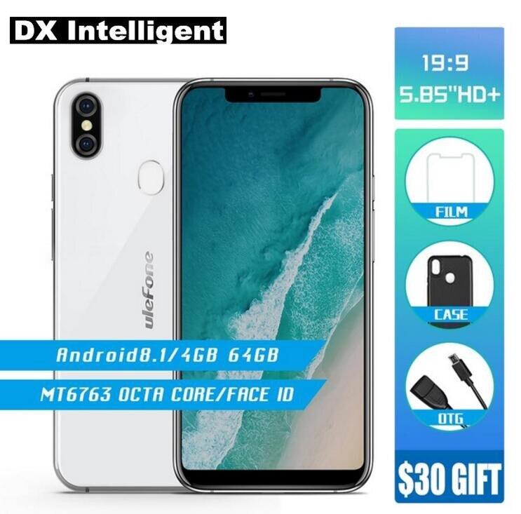 Бесплатная чехол Ulefone X MT6763 Octa Core Смартфон 5,85 дюймов уход за кожей лица разблокировать Android 8,1 4 ГБ + ГБ 64 16MP двойной сзади камера беспроводной з...