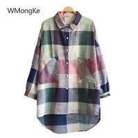 WMongKe Spring Colorful Plaid Women Mini Shirt Dress A Line Turn Down Collar Tops Long Sleeve