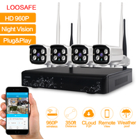 LOOSAFE Plug And Play 4CH Wireless NVR Kit P2P 960P HD Outdoor IR IP Video Security