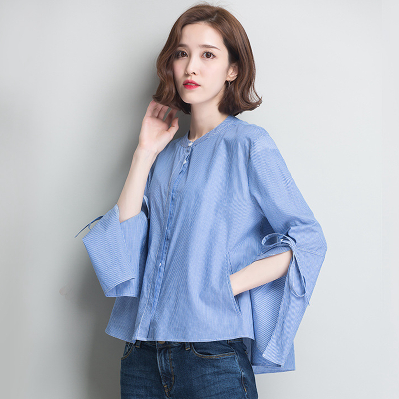 Blouse Women Shirt Simple Design 100% Cotton Loose Top Striped Tie Flare Long Sleeves Casual Fashion Style New Fashion 2018