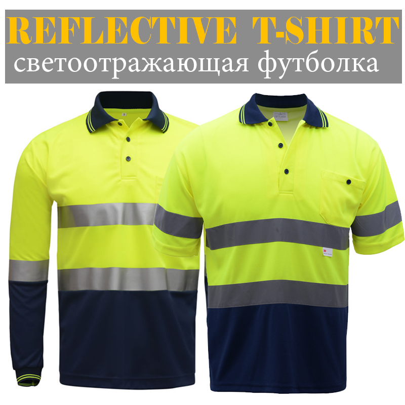 Camisetas reflectantes de seguridad de alta calidad de dos tonos de trabajo Camiseta de manga larga de manga corta con cintas reflectantes