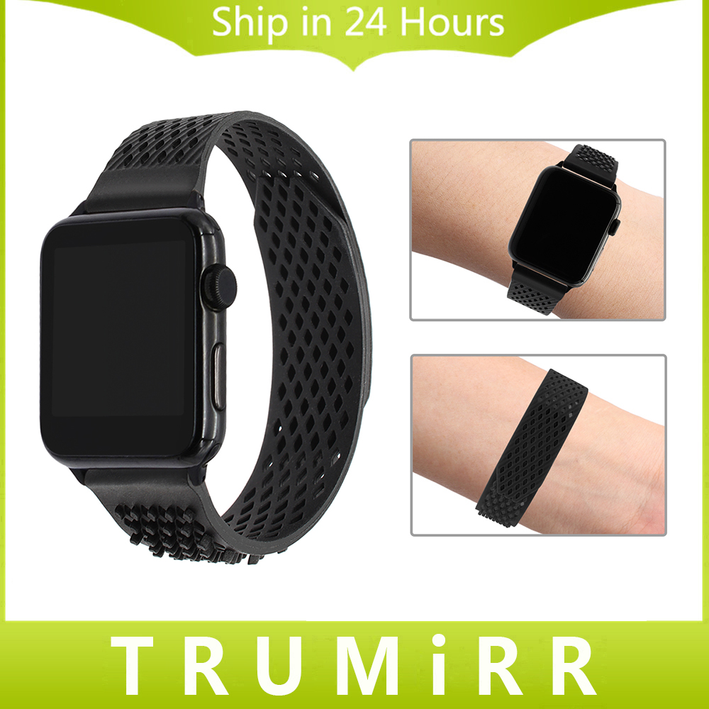 No Buckle Silicone Rubber Watchband for iWatch Apple Watch 38mm 42mm Series 1 2 3 Sports Band Wrist Strap Colorful Bracelet jansin 22mm watchband for garmin fenix 5 easy fit silicone replacement band sports silicone wristband for forerunner 935 gps