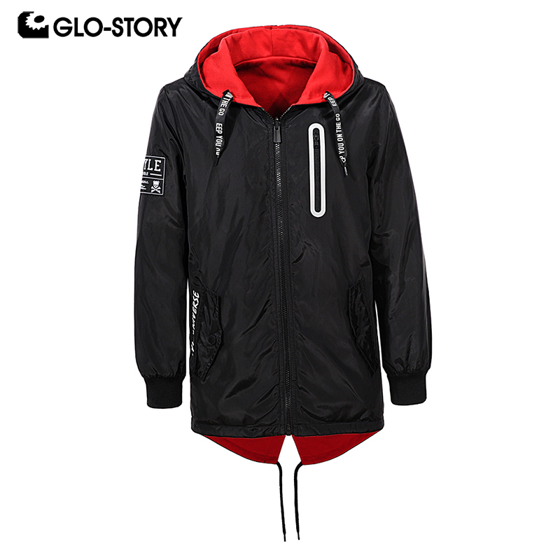 GLO-STORY 2018 Autumn Boy Letter Jackets with Hooded Zipper Double-Side Wear Coat Chidren's Jacket Windbreaker For Kids Jacket