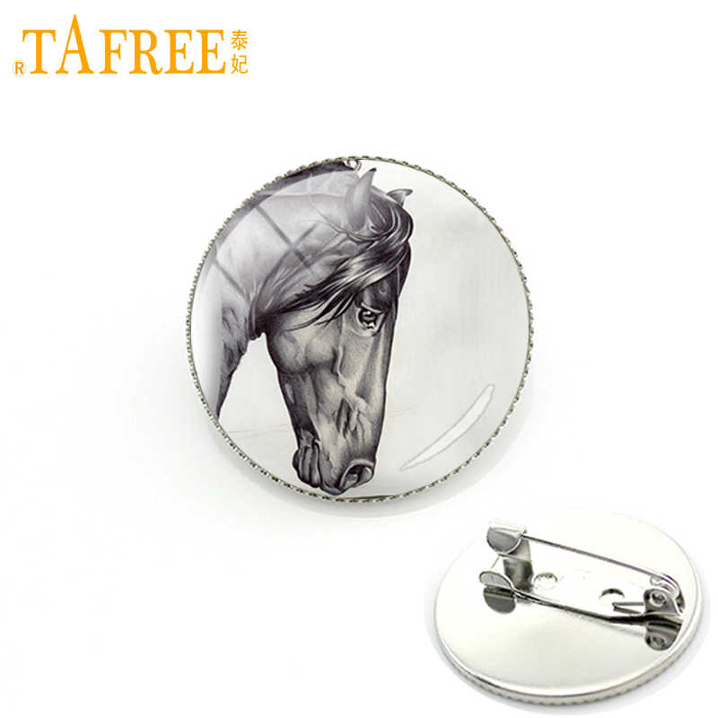 TAFREE Horse  Stock Vector Brooch vintage Mass effect Pins art picture glass animals simple cabochon special jewelry A12