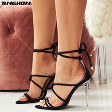TINGHON Ladies Gladiator Sandals Flock Leather Thin Heels Narrow Band Solid Buckle Strap Sexy Womens Shoes With Heel Party