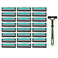 25 in 1 Safe Men Shaving Razor Set 1 Razor Holder & 24 Razor Blades 2 Blades Shaving Shaver Standard Face Care Shaving Skin