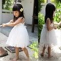 Nuevo 2016 para niños de las muchachas de flor vestido sin mangas del verano del tutú del bebé Girl Party Kids de la princesa vestidos niños del verano se visten