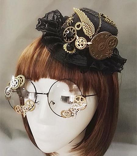 Nieuwigheden Steampunk Victoriaanse Versnellingen Mini Top Hat Kostuum Haar Accessoire Handgemaakte Met Stoom Punk Versnelling Bril