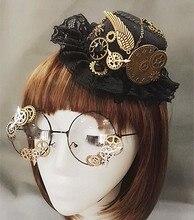 التحف Steampunk التروس الفيكتوري ميني أفضل قبعة زي الشعر الإكسسوارات اليدوية مع نظارات البخار فاسق والعتاد