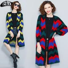 Fashion Autumn Women Coat Loose Cardigan Trench Coats Knitted Women Trench Embroidered Oversize Long Sleeve Retro Ladies Coats