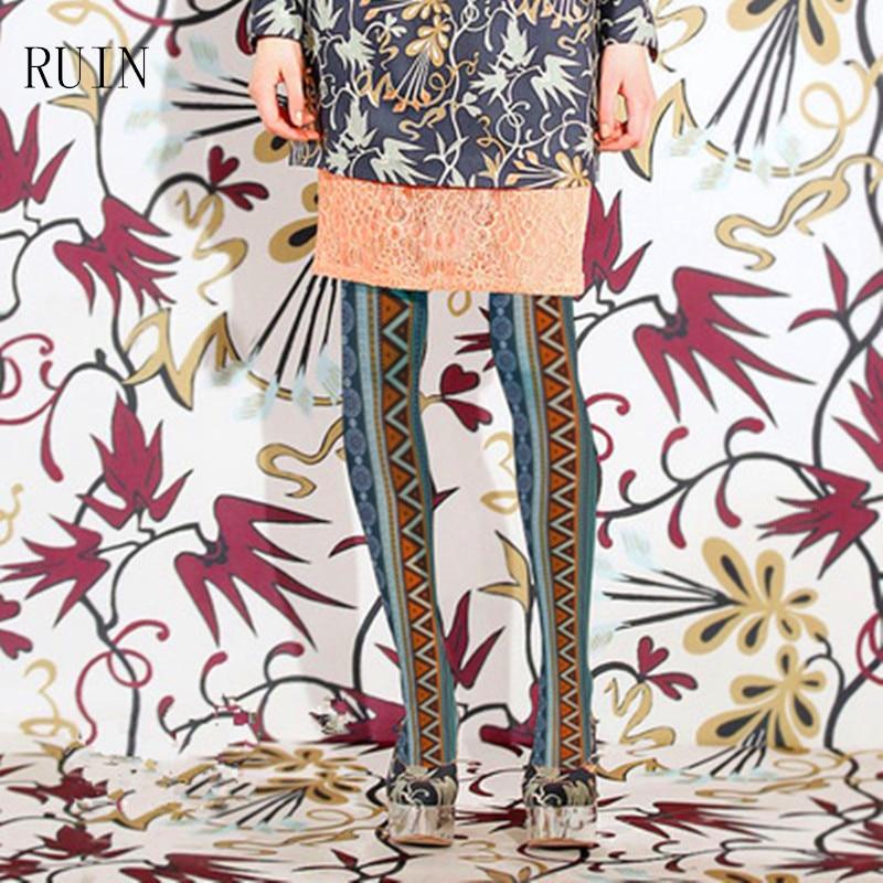 RUIN дамски чорапогащи Вертикални ивици национален стил печат беше тънък чорапогащник женско момиче
