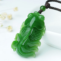 Exquisite jewelry fashion green stone goldfish pendant necklace luck blessing jewelry lovers jewelry gifts/