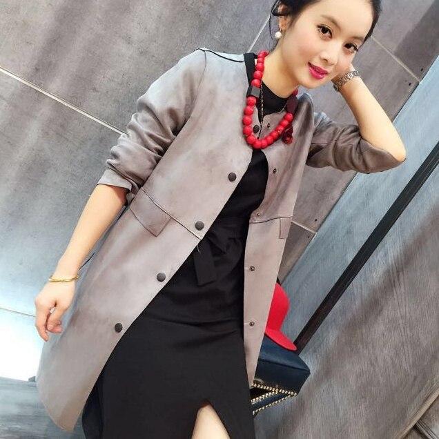 Европа осень женский размер тонкий замши куртку ветровку, с длинными рукавами замши пальто цвета