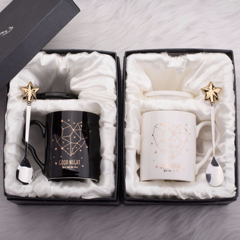 Handmade Ceramic cup Coffee Mugs Tea Cup Drinkware - 520 Golden Lover Mugs and Spoon Creative Dairy Gift Box