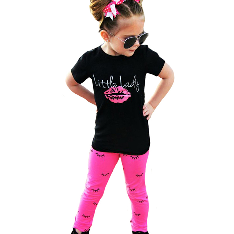 Girl Clothing Set Lips Girls Clothes 2017 Summer Black Short Sleeve T Shirts+Eyelash Leggings Pants 2pcs Kids Baby Clothing Sets 2016 korean style cute girl printed sets children s clothes short t shirts pants 2pcs girls clothing retial 0 4t kids coat