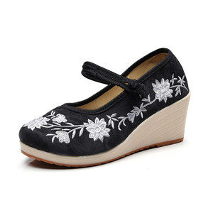 Image 3 - Veowalk Vegan Women Embroidered Canvas Wedge Platform Shoes Comfort Cotton Embroidery Vintage Ladies Casual Wedged High Heels