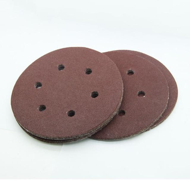 "25pcs 6"" 6inch 150mm 6 Holes Sanding Disc Hook Loop Abrasive Sandpaper Round Sandpapers for Orbital Sander"
