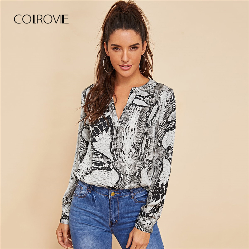 COLROVIE Grey V-Cut Neck Snake Skin Print Sexy Ladies Blouse Shirt 2018 Autumn Long Sleeve Blouse Office Women Tops And Blouses